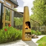 Contemporary Steel Chimenea Circo Oxidised Black - Warmth!