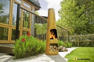 Contemporary steel chimenea circo oxidised