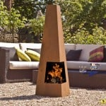 Contemporary steel chimenea cuba oxidised