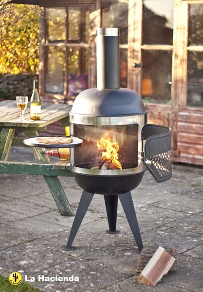 Steel and stainless steel pizza chimenea
